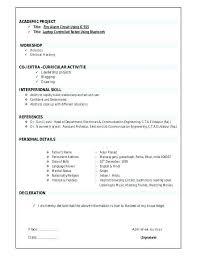 Ece Resume Format Sample Resume Resume Sample Resume For In Resume