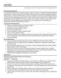 Maintenance Resume Cover Letter Industrial Technician Building
