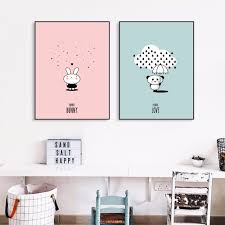 Kindergarten Bunny Panda Liebe Leinwand Kunstdruck Malerei Poster