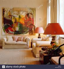 Large Living Room Paintings Large Abstract Painting Above Cream Sofa In Upmarket Townhouse