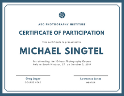 Certificate Of Participation Templates Certificate Of Participation Template Major Magdalene