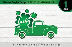Old red truck with christmas tree and presents. St Patrick S Day Truck Graphic By Gleenart Graphic Design Creative Fabrica