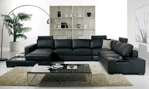 Luxurious Living Room With Elegant Black Couch For Chic Look