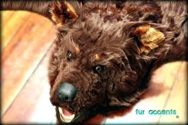 ikea faux bear skin rug with head fur accents