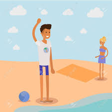 Couple De Dessin Anim Sur L Illustration De La Plage Clip Art