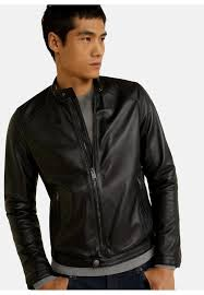 cuir leather jacket black mango