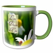 Love Dream Hope Ladybug On A Daisy Inspirational Quotes Coffee Mug