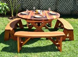 round wooden picnic table wooden picnic table round wood picnic table with wheels by forever redwood round wooden picnic table