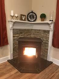 pellet stove stone wooden mantle