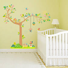 Wall Decal Size Chart Large Tree Birds Home Wall Stickers Kids Room Nursery Growth Chart Wall Mural Poster Art Height Ruler Wall Decals Decoration Self Adhesive