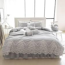 grey pink blue purple cotton lace bedding set full queen king size duvet cover sets