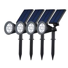 victsing 4pcs solar spotlight 2 in 1 led wall landscape solar lights 180 degree adjule waterproof outdoor landscape lights for tree driveway yard