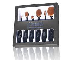 6 pcs super soft spoon oval toothbrush kabuki makeup brush set foundation brushes contour powder blush concealer brush makeup cosmetic tool set black