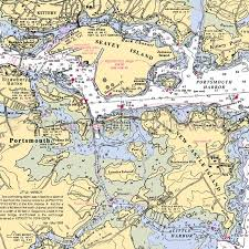 New Hampshire Portsmouth New Castle Nautical Chart Decor