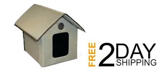 details about pet s outdoor kitty cat house insulated w flap exits weatherproof uk