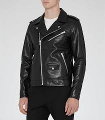 mens black stud leather biker jacket reiss honne