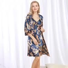 plus size silk robe ssh071 new brand satin silk robe gown set plus size two pieces