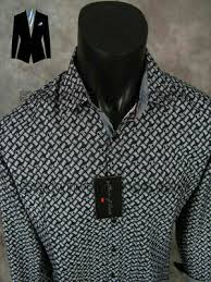 Roar Shirt Size Chart Mens House Of Lords Casual Shirt Black With White Wave Patterns Roar With Class Ebay