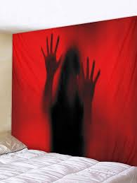 ghost print tapestry wall art red w59 inch l51 inch