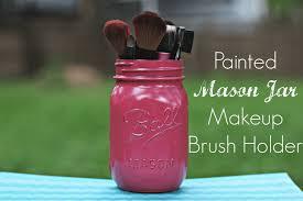 mason jar makeup brush holder. painted mason jar makeup brush holder