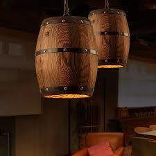 Bamboo Barrel Lights Country Wooden Barrel Pendant Lights Lamp Creative Loft E26 Lighting Fixture Art Decoration For Bar Living Room Cafe