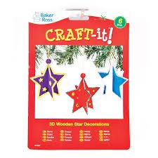 Baker Ross 3d Weihnachtssterne Aus Holz Für Kinder Zum