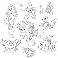 Carta Da Parati Set Di Simpatici Animali Cartone Animato Sul Mare In Bianco
