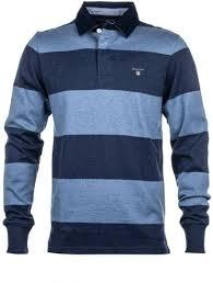 gant denim blue original barstripe rugby shirt