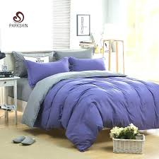 parkshin plain double bedding set gray and purple solid color duvet cover soft polyester flat sheet