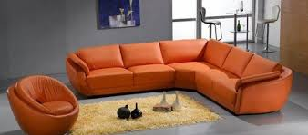3333 contemporary leather sectional sofa in orange color