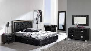 Black Button Tufted Faux Leather Modern Platform Bed wStorage