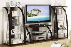 Tv Stand Black Contemporary Tv Stand Black With Optional Media Shelves