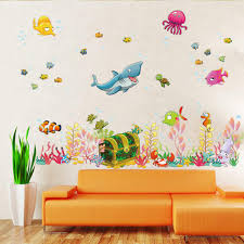 2016 new sea world childrens room wall sticker ocean world cartoon wall decal kids living room wall decoration home decor 30 90cm cartoon wall decals free