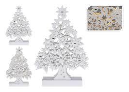 Tannenbaum Weiß Holz Led Warmweiß H 33 Cm Weihnachtsbaum Weihnachtsdeko Batterie