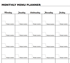 monthly meal planner template free printable grocery planners