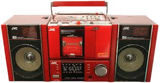 sharp 80s boombox. the jvc pc-100 included a detachable cassette player, which started shift to sharp 80s boombox