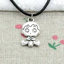 baby boy necklace whole new fashion silver pendant baby boy necklace choker charm black leather cord baby boy necklace