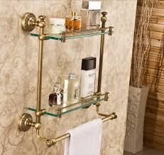 wall mount bathroom glass shelf antique brass dual tier cosmetic bracket holder
