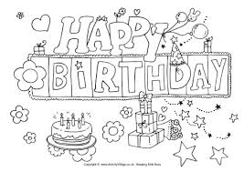 Small Picture Happy Birthday Colouring Page