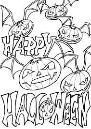 Happy Halloween Coloring Pages Pumpkin Bats Coloringstar