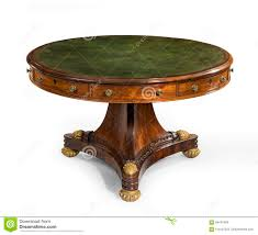 round red leather topped table english antique vintage