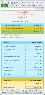 Net Worth Calculator Personal Net Worth Calculator Excel Spreadsheet Net Worth
