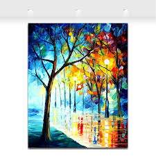 palette knife painting night landscape painting wet street light modern home decoration wall art canvas prints in painting calligraphy from home garden