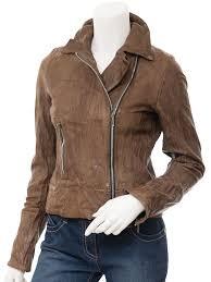 women s brown leather biker jacket montreal front