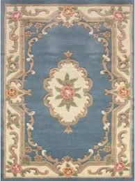 quick view lotus premium wool aubusson rug in blue