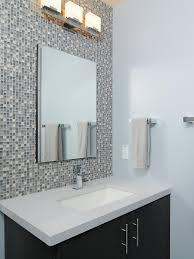 modern bathroom backsplash. An Eye-catching Mosaic-tile Backsplash Ups The Style Quotient In This Modern Blue Bathroom Pinterest