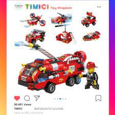 LC026] Xe ô tô đồ chơi lego cứu hỏa xếp hình