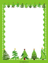 christmas present borders and frames.  And Christmas Trees Decorated With Stars Line The Top And Bottom Of A Winter  Landscape In This Free Printable Green Border On Present Borders And Frames R