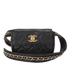 chanel fanny pack. chanel vintage black quilted lambskin iconic chained fanny pack at 1stdibs