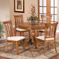 hilale furniture bayberry oak 5 piece dining set with round dining table